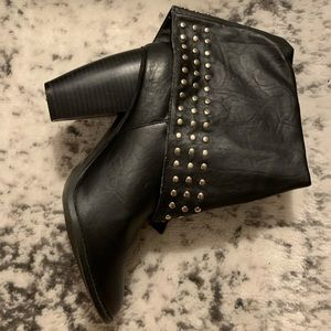 Leather studded booties